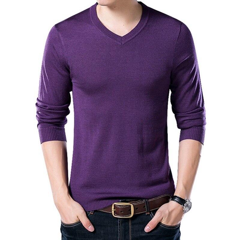 PUI men TIUA осенний Повседневный однотонный базовый Мужской свитер с v-образным вырезом тонкий мужской пуловер вязаный свитер с длинным рукавом мужской свитер размера плюс - Цвет: Purple