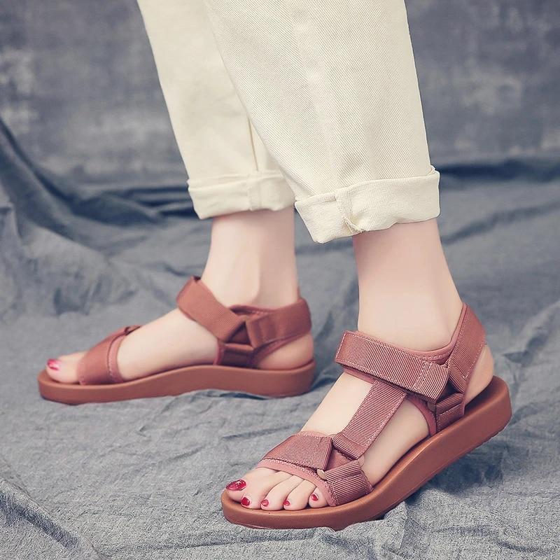 2019 Women Flat Gladiator Sandals Open Toe Shoes Flip Flop Low Heels Summer