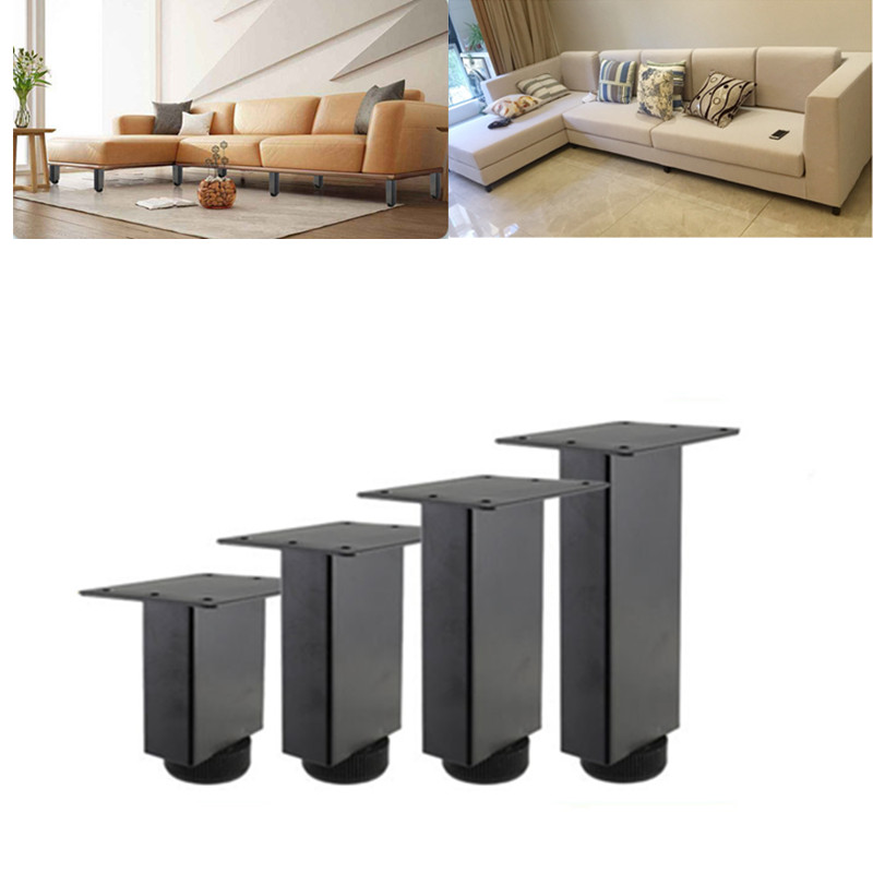4pcs Height Adjustable Metal Furniture Legs Sofa Cabinet Middle Load-bearing Support Foot Bed Riser Square Tube Table Leg image