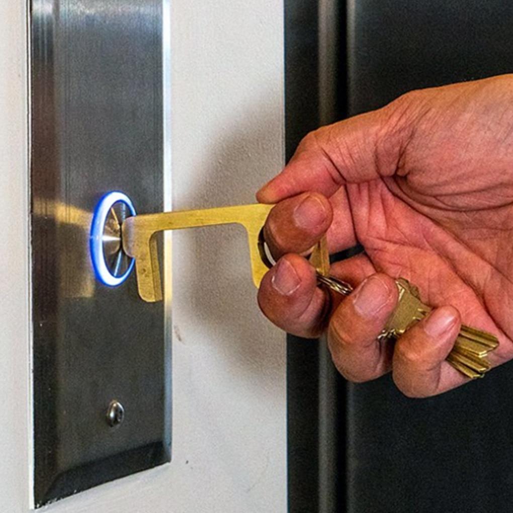 1/5pcs Key Shaped Door Opener Elevator Button Press Tool Portable Avoid Contact Handle Brass Puller Zero-touch Door Handle