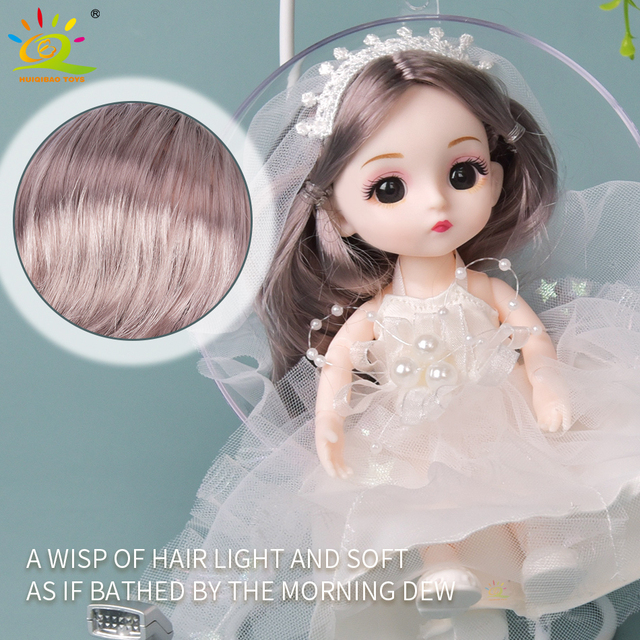 6pcs 5.9inch 13 Moveable Fashion bjd Boneca Dolls Joint body Ball Jointed Reborn Wedding Dress Make Up Dolls Toys Gift For Girls 5