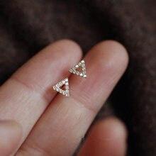 Boucles d'oreilles à clous en argent Sterling 925, Pavé de cristal, Triangle creux, or 14k, bijoux d'étudiant de tempérament Simple