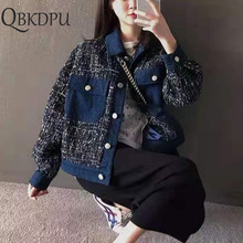 Elegant Womens Black Tweed Jackets Denim Plaid Coats Autumn Small Fragrance Long