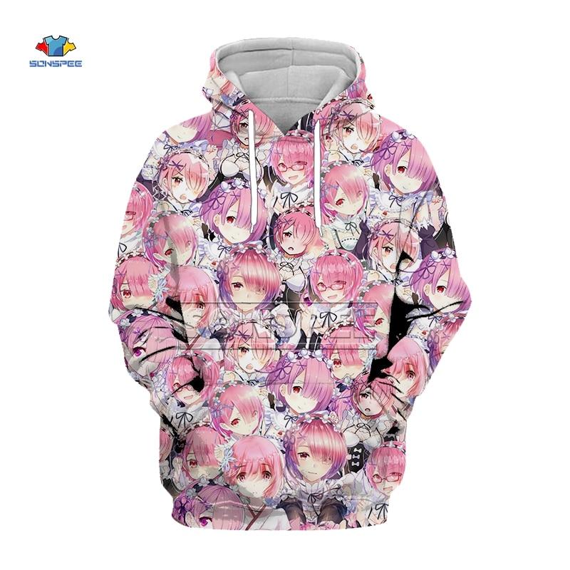 SONSPEE New 3D Hoodies Hooded Women Men Funny Shy Girl Face Sweatshirt Hentai Manga Streetwear Harajuku Anime Jackets Tops C213