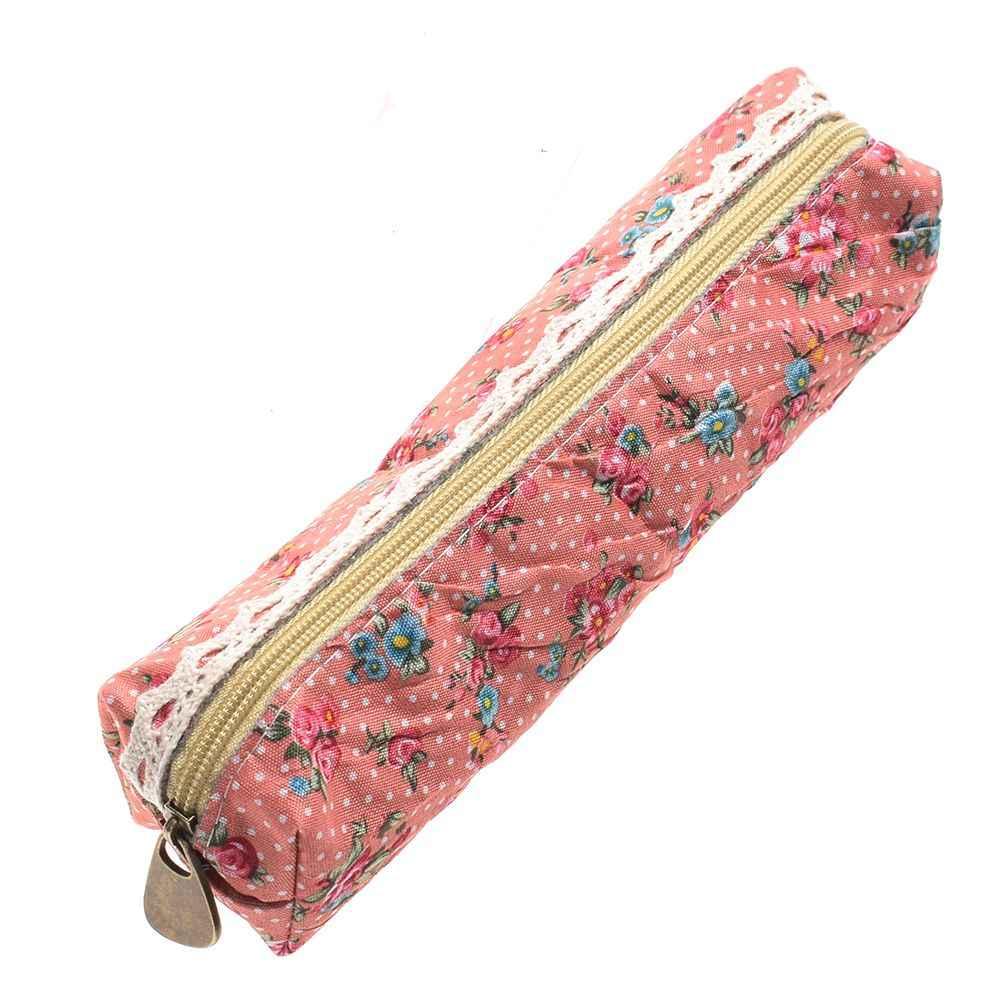 Fashion Mini Retro Flower Floral Lace Pencil box case pen bag Multi-Function Zipper Pencil Bag Stationery Supplies Gift for Kids