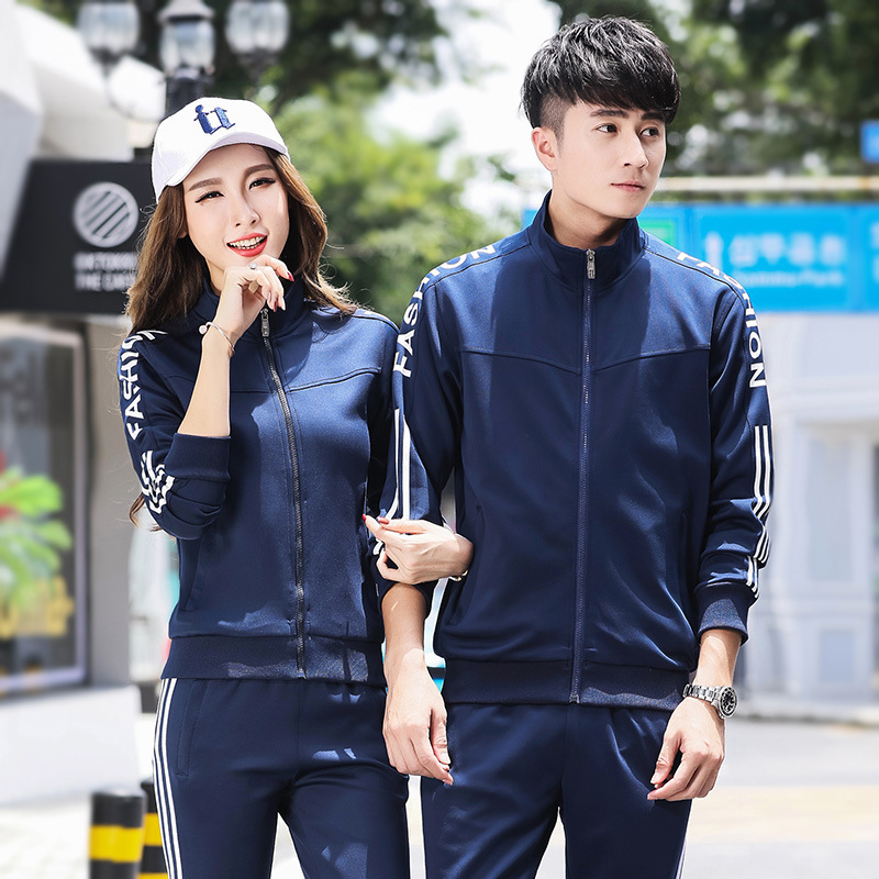 Couples Sports Set 2018 New Style Men Fashion Slim Fit Stand Collar Long Sleeve Trousers Two-Piece Set Women's Sports Clothing