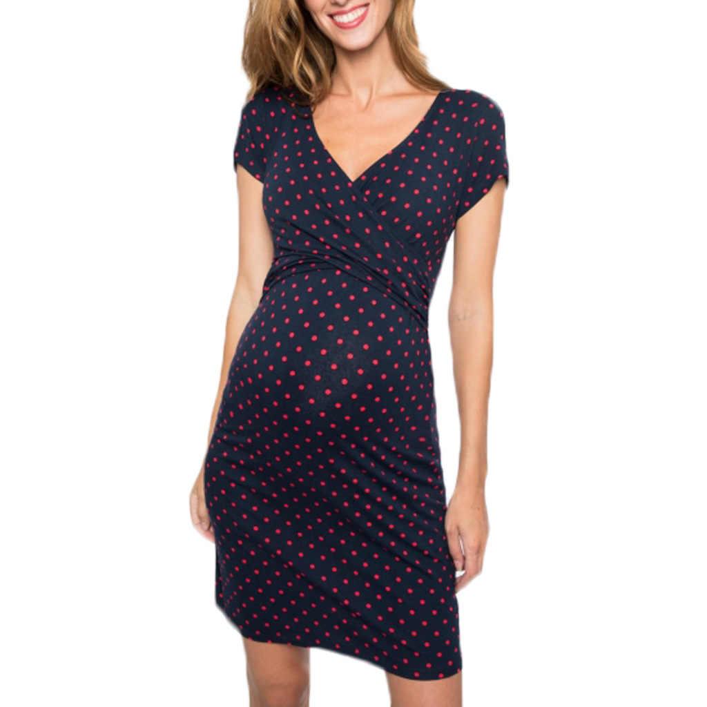 2019 populaire stijl borstvoeding kleding golf punt afdrukken korte mouw V kraag zwangere vrouw voeden jurk Q0806