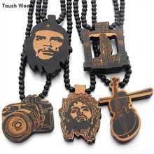 Wooden camera violin pendant  necklace hip hop jewelry