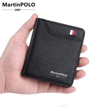 MartinPOLO Genuine leather wallet Men Small wallets Slim Id Credit card holder Bifold Short Wallet Luxury Black purse MP1005