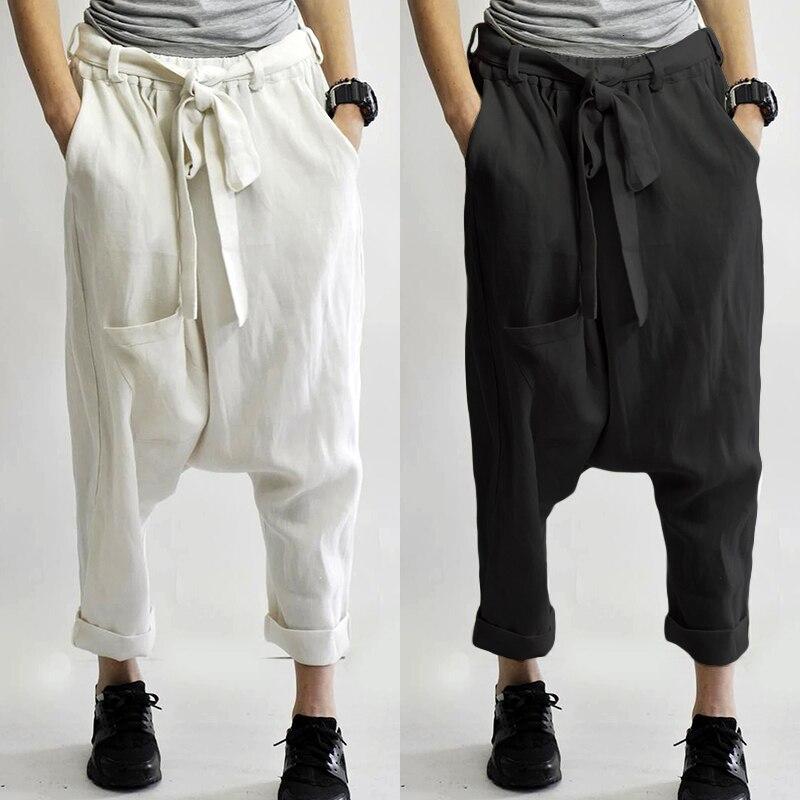 ZANZEA Women's Pants 2020 Autumn Ladies Baggy Drop-crotch Pants Elastic Waist Long Trousers Solid Loose Streetwear Plus Size 5XL