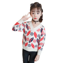 Get more info on the New 2019 Autumn Children Clothing Girls Lip Sweater Kids V-Neck Sweaters Girl's Fashionable Style Outerwear Pullovers Age 4-13T