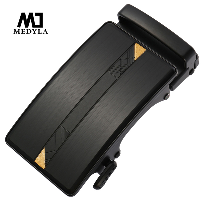 MEDYLA Advanced Matte Black Belt Buckle Men's Hard Metal Low-key Luxury Black Gold Men's Business Belt Automatic Buckle 3.6cm