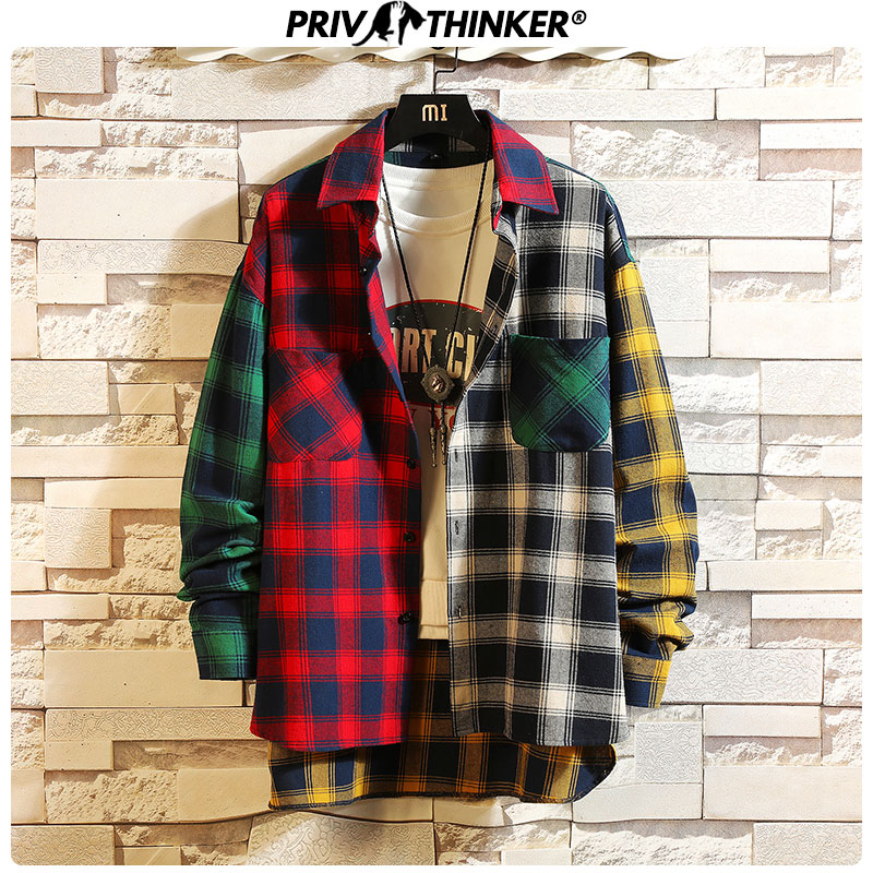 Privathinker 2020 Men Woman Patchwork Casual Plaid Shirt Lady Korean Streetwear Loose Shirts Female Office Vintage Shirt Clothes