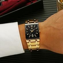 Fashion Stainless Steel Watches Men 2021 WWOOR Square Waterproof Quartz Watch Men Top Brand Luxury Gold Black Wristwatch For Man