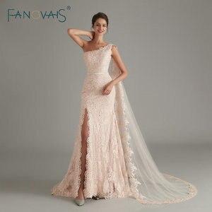 Image 1 - Élégant rose sirène robes de soirée longue abendkleider 2019 vestido longo festa avant fente formelle robe de soirée robe de soirée