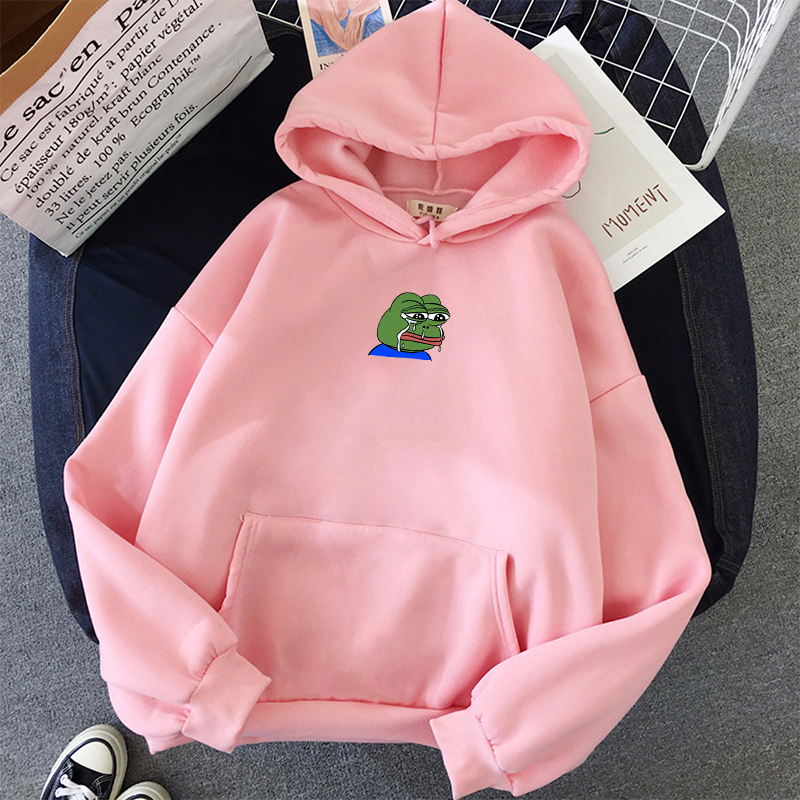 Sad Tearing Frog Print Hoodies Men/Women Hooded Sweatshirts Harajuku Hip Hop Hoodies Sweatshirt Male Japanese Streetwear Hoodie 5
