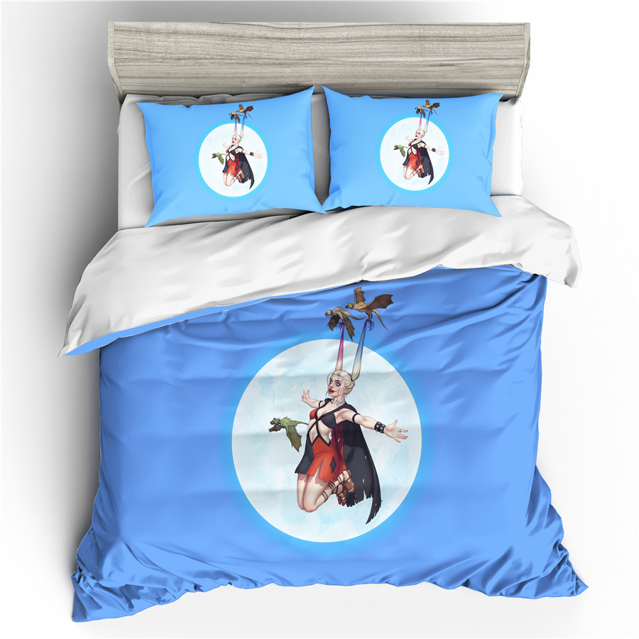 A Bedding Set 3D Printed Duvet Cover Bed Set Suicide Squad Harley Quinn Home Textiles Bedclothes With Pillowcase #FPHL10