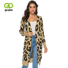 GOPLUS Womens Knitted Jacket Autumn Winter V-neck Leopard Long Cargigan For Women Sweaters Abrigos Mujer Invier