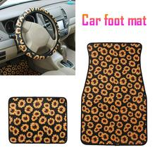 3pcs/Set Universal Car Floor Foot Mats Styling Anti-Slip Neoprene Sunflower 2pcs Mat Carpet 1pcs Steering Wheel Cover