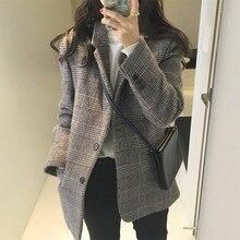 Elegant autumn winter plaid women woolen blazer coat Causal long sleeve Office ladies wool suit blazer