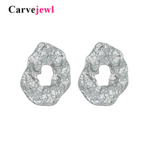 Carvejewl stud earrings hammered irregular round big jewelry for women girl gift matte silver new hot sale