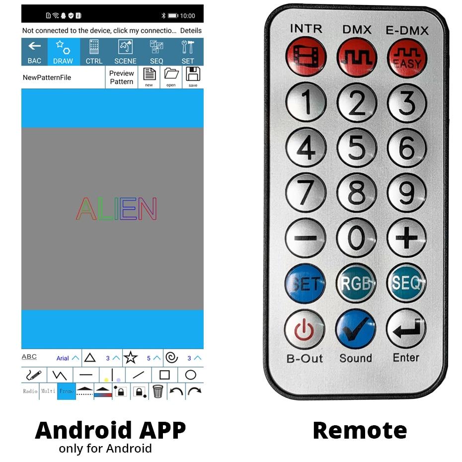 ALIEN RGB Bluetooth APP Remote Animation Laser Projector DMX512 Scanner DJ Disco Party Holiday 500MW 1W 2W Stage Lighting Effect 4