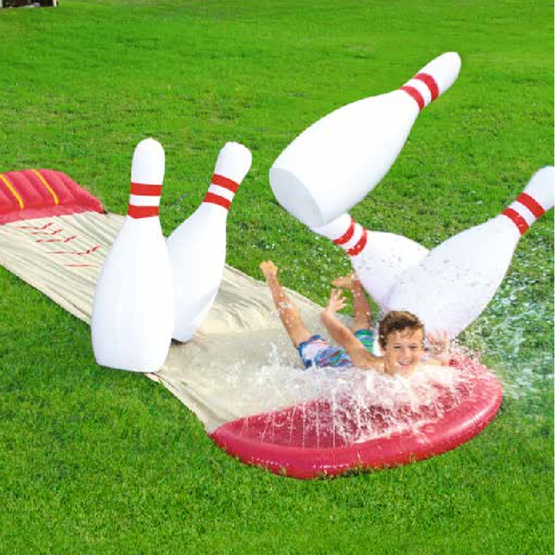 Outdoor Yard Garden Family Kids Inflatable Spray Water Inflatable Water Park Slide With Bowling Ball Toys Pool Water Gun