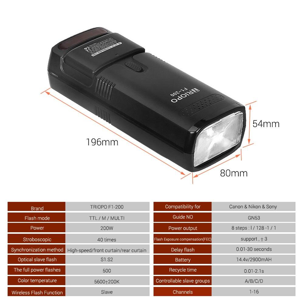 TRIOPO F1-200, 2,4G, Беспроводная Вспышка ttl, наружный светильник для вспышки TRIOPO G1, триггер 200Ws с батареей для камеры Canon, Nikon, sony