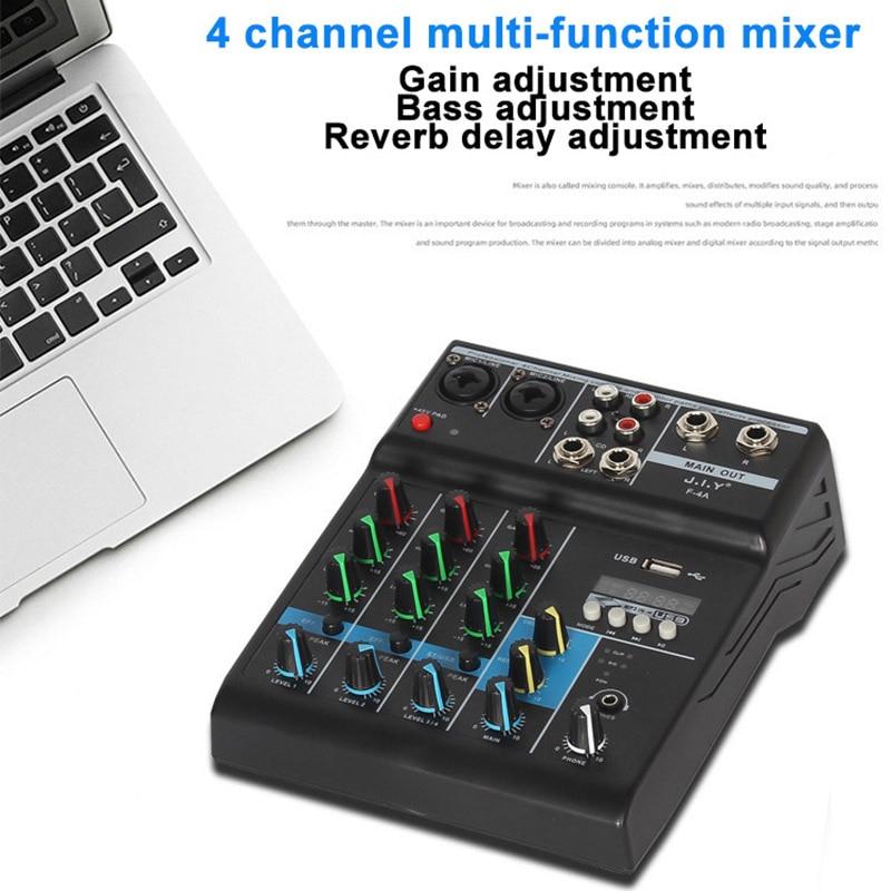Tragbare Audio Mixer Professionelle 4 Kanal bluetooth Mischen Konsole USB MP3 48V Verstärker mit Reverb Wirkung Für Karaoke