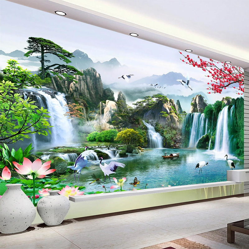 Custom Mural Wallpaper Chinese Style 3D Waterfalls Nature Landscape Wall Painting Living Room TV Sofa Study Classic Home Decor