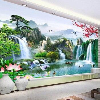 цена на Custom Mural Wallpaper Chinese Style 3D Waterfalls Nature Landscape Wall Painting Living Room TV Sofa Study Classic Home Decor