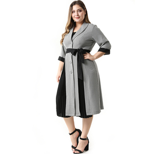 Image 3 - 2020 Abaya Long Summer Womens Dresses Large Plus Size Fashion Elegant Casual Stitching Single Breasted Sashes Midi Suit Dress