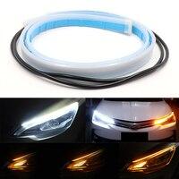Luces de circulación diurna ultradelgadas para coches, tira de luces LED DRL Flexible, señal de giro blanca y amarilla, para montaje de faros, 2 unidades