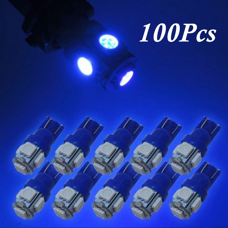 <font><b>100X</b></font> Blue <font><b>T10</b></font> 192 194 168 W5W 5SMD 5050 LED Car Side Wedge Dome Lights Lamps New image