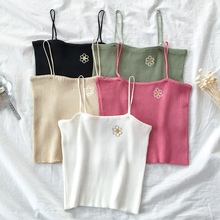 Tank-Tops Summer Camis Spaghetti-Strap Knitted Floral Off-Shoulder Women Embroidery Female