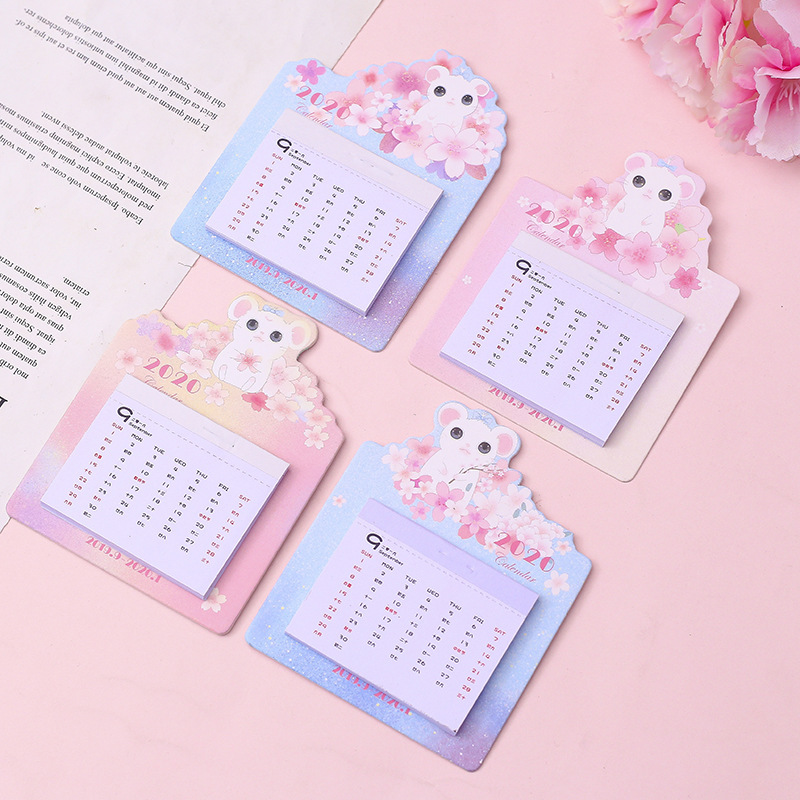 2020 Cute Mouse Cherry Blossoms Calendar Mini Wall Sticker Calendars Daily Schedule Planner 2019.09~2020.12