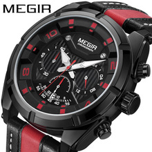 Cool Men Watch Leather Band Sports Date Analog Alloy Military Quartz watch man Waterproof Shockproof  Wristwatch