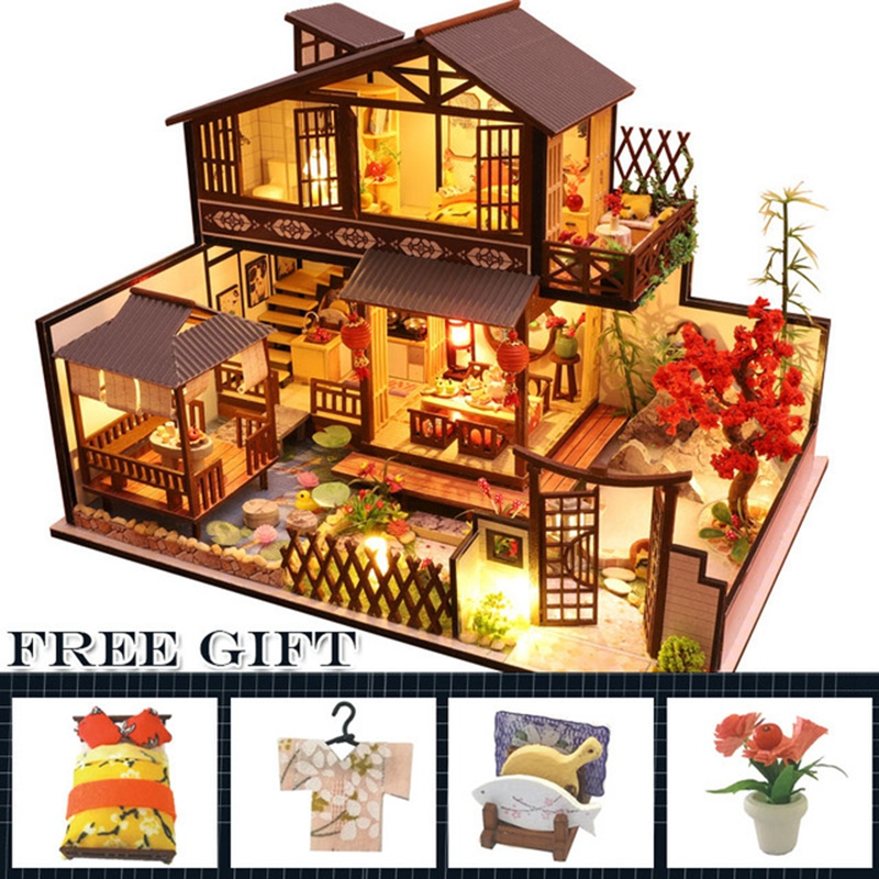 Christmas Gift LARGE Doll House Furniture Diy Miniature Wooden Miniaturas Dollhouse Toys Children Birthday Gifts Chinese Style image