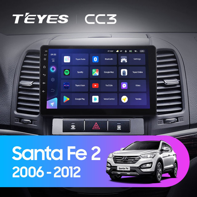TEYES CC3 Штатная магнитола For Хендай Санта Фе 2 For Hyundai Santa Fe 2 2006 - 2012 до 8-ЯДЕР, до 6 + 128ГБ 27EQ + DSP carplay автомагнитола 2 DIN DVD GPS android 10 мультимедиа автомобиля головное устройство 2