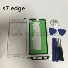 เปลี่ยนใหม่ LCD ด้านหน้ากระจกเลนส์ด้านนอกสำหรับ Samsung Galaxy S7 Edge G935 G935F/P/ v/R/T/A + สติกเกอร์ + เครื่องมือ