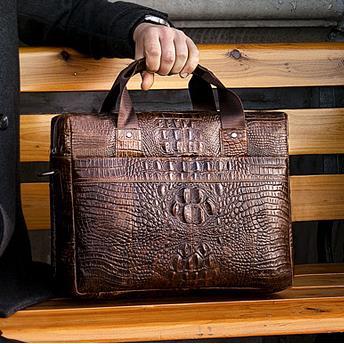 Special Offer Alligator Pattern Genuine Leather Men Handbag 14