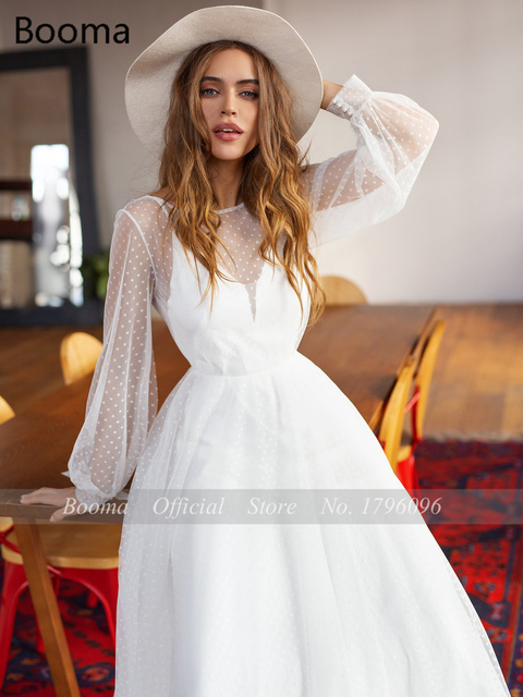 Booma Polka Dots Tulle Beach Wedding Dresses O-Neck Long Sleeves Sheer Neckline Bride Dresses Backless A-Line Bridal Gowns 3