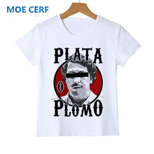 Personality Pablo Escobar Kid T Shirt Weed Mafia Scareface Luciano Capon Boy Baby Tee Short Sleeve Girl Children's T-Shirt Z49-3(China)