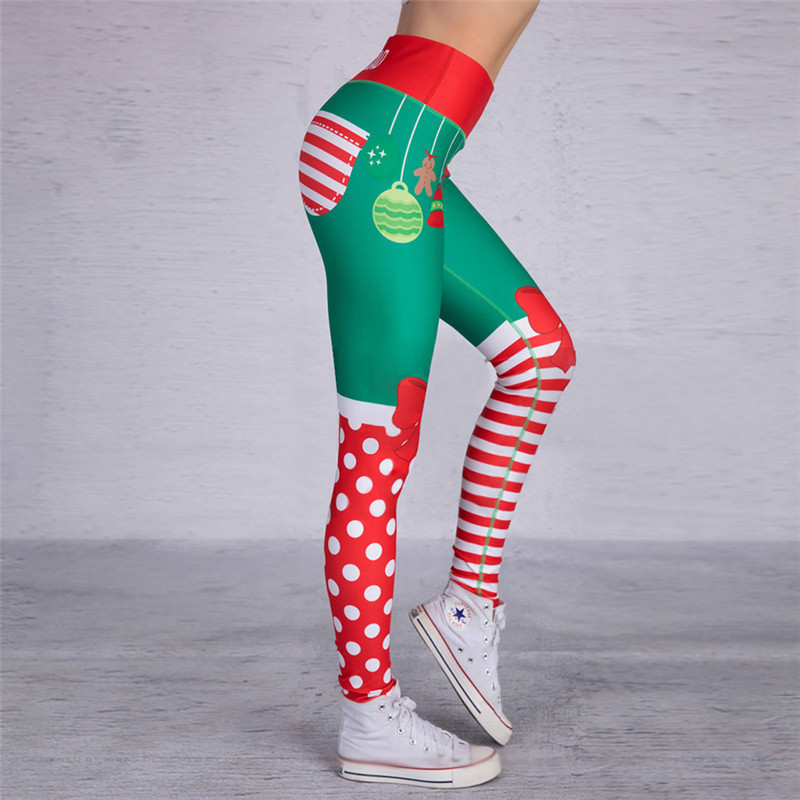 Christmas Trousers For Women Lady Casual Elasticity Skinny Leggins Mujer High Waist Workout Printing Stretchy Pants Leggings