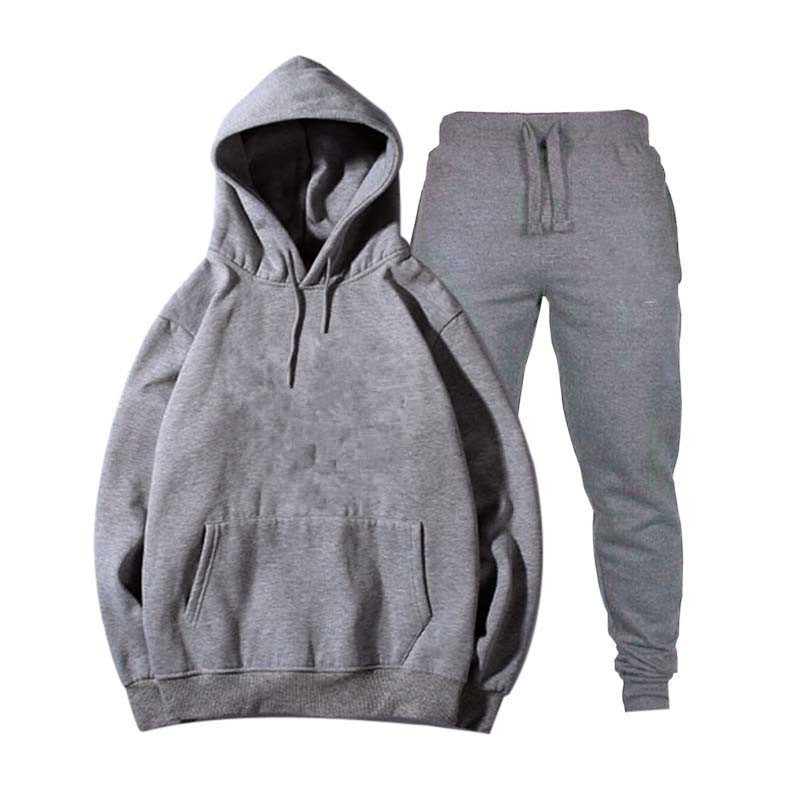 Image 3 - Mens and womens unisex 2 piece hooded trousers sportswear pullover sweatshirt trousers 2 piece sportswear suitMens Sets   -