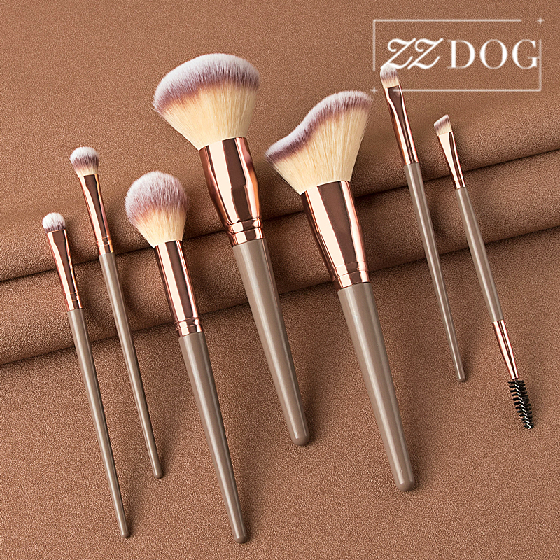 ZZDOG Juego de pinceles de maquillaje profesional, 7/12 Uds., gran polvo esponjoso, base, sombra de ojos, mezcla de cosméticos, herramientas de belleza|rizador de pestañas| - AliExpress