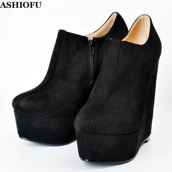 ASHIOFU Hot Sale Women Wadge Heel Pumps Faux-suede Sexy Platform Party Dress Shoes Real Photos Evening Fashion Court Pumps Shoes