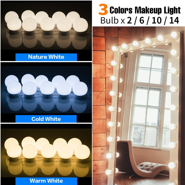 3 Colors Led Makeup Mirror Light LED Vanity Lighting Hollywood Light 2 6 10 14 Bulb Stepless Dimmable Wall Lamp Dressing Table