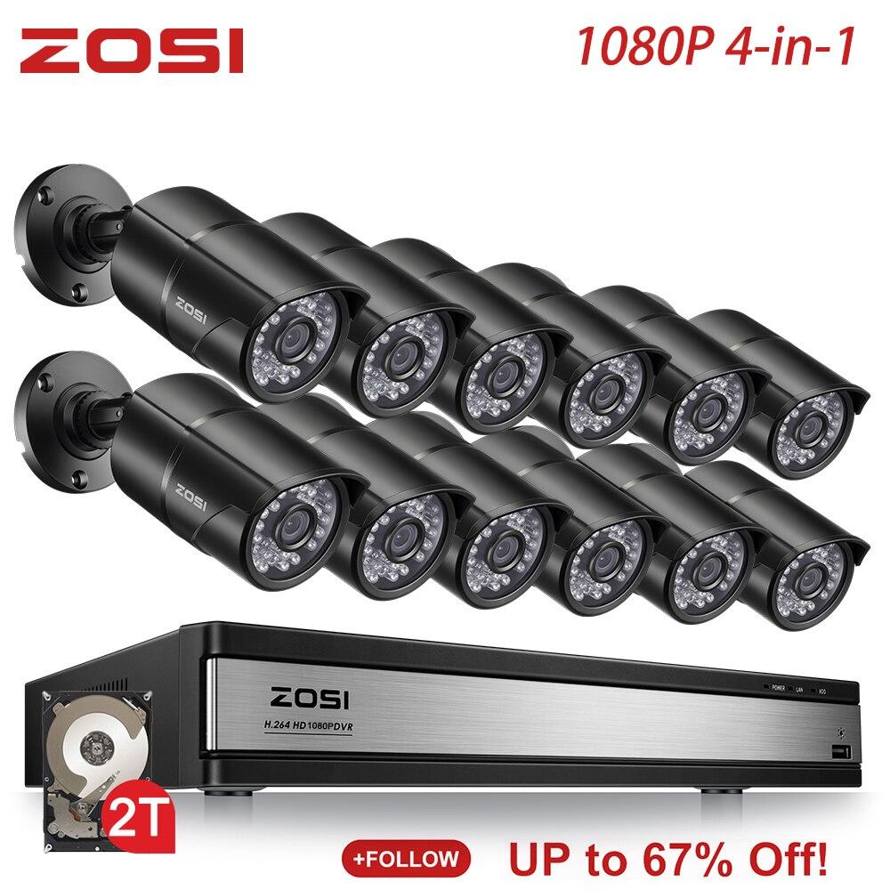 ZOSI 1080P 2MP 16 canaux système de vidéosurveillance TVI enregistreur DVR Kit balle étanche vidéo IR filtre vision nocturne caméra extérieure