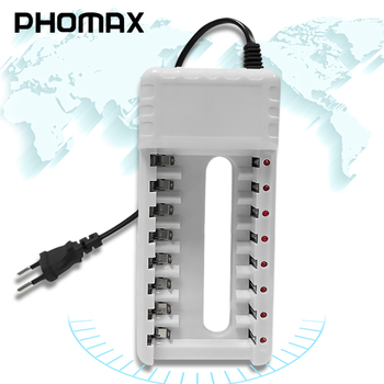 PHOMAX 5W 2.4V 8 Slots EU Plug LED Smart Display Fast Charger AA AAA Ni-MH / Ni-Cd Toy Camera Rechargeable Battery Charger White image